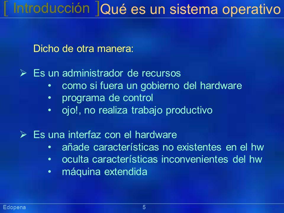 [ Introducción ] Qué es un sistema operativo Dicho de otra manera: